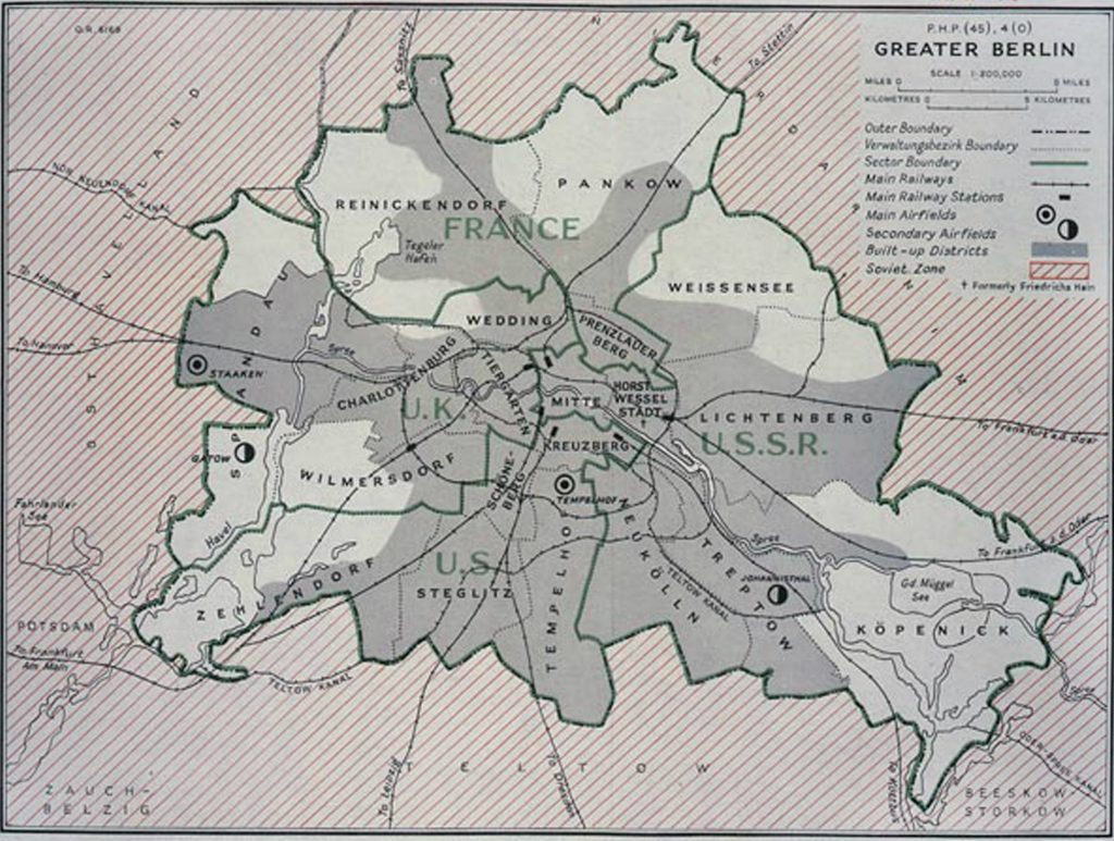 A map of the old Berlin, when it was segregated into countries' control.
