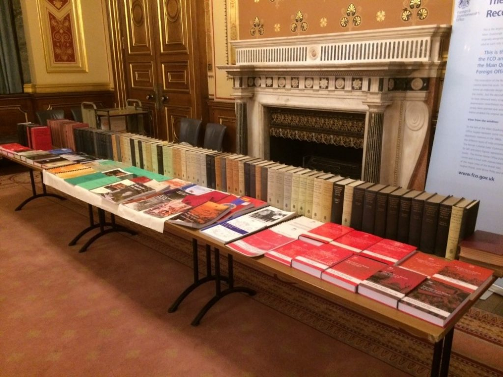 A century's worth of publications from FCO, lots of old books, lined up