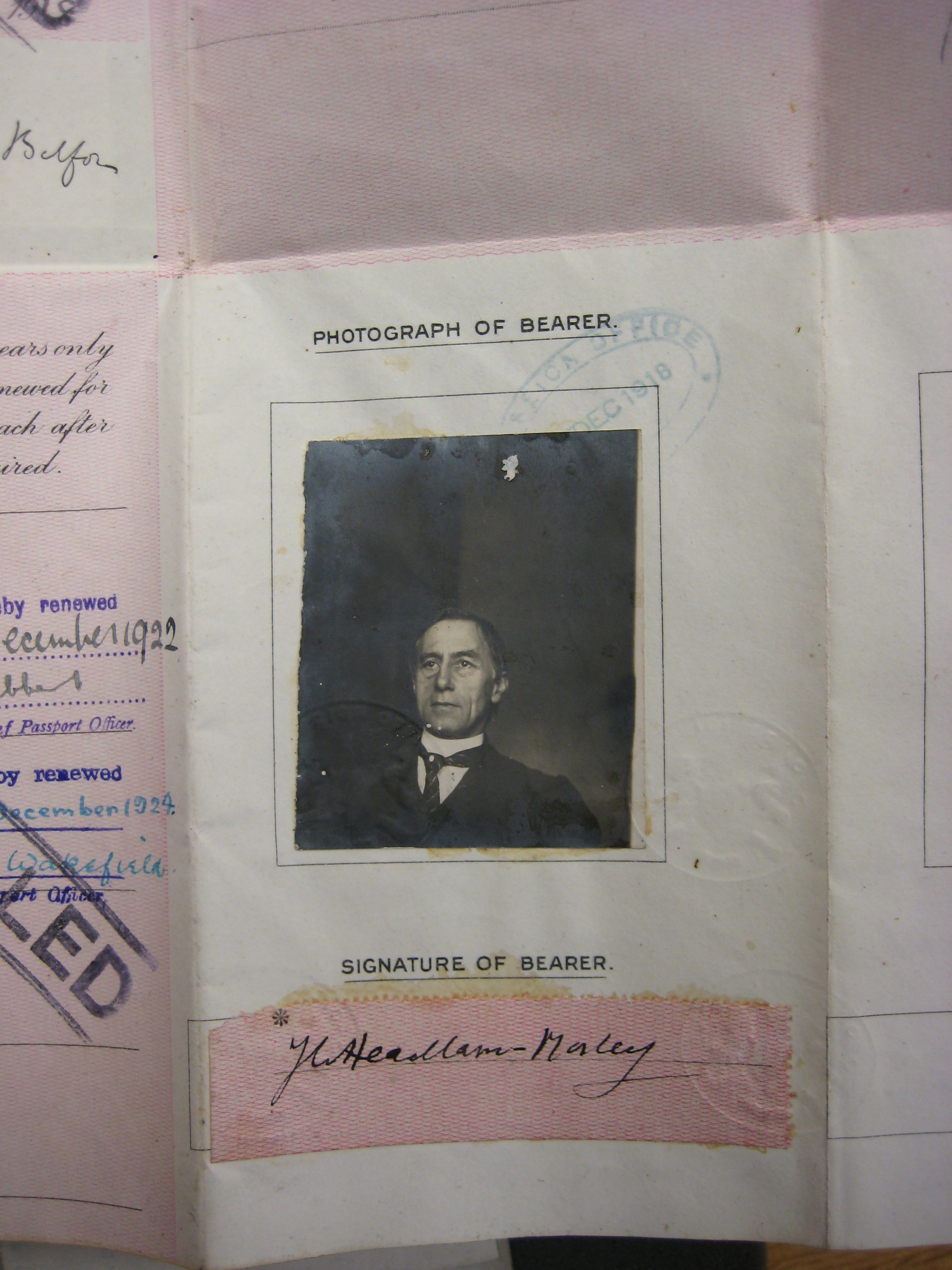 James Headlam-Morley's picture in a book with his named signed