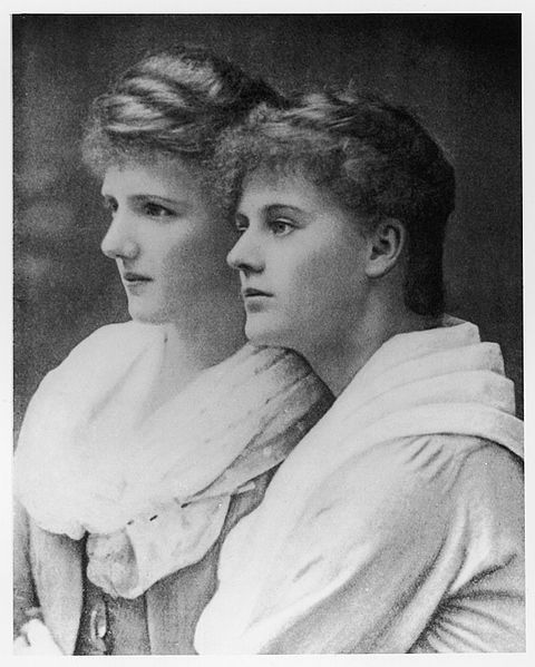 Eva Selina Laura Gore-Booth and her sister Constance Gore-Booth looking to the side whilst posing