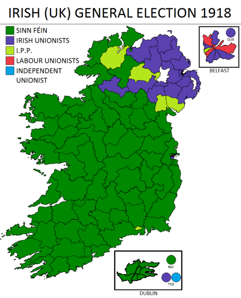 Map of 1918 General Election results, the majority of the south is Sinn Fein