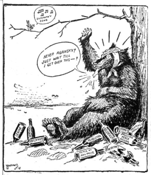 A drawn picture of a bear sitting under a tree. The bear is saying: Never againsky! Just wait till I get over this! He is surrounded by alcohol bottles.
