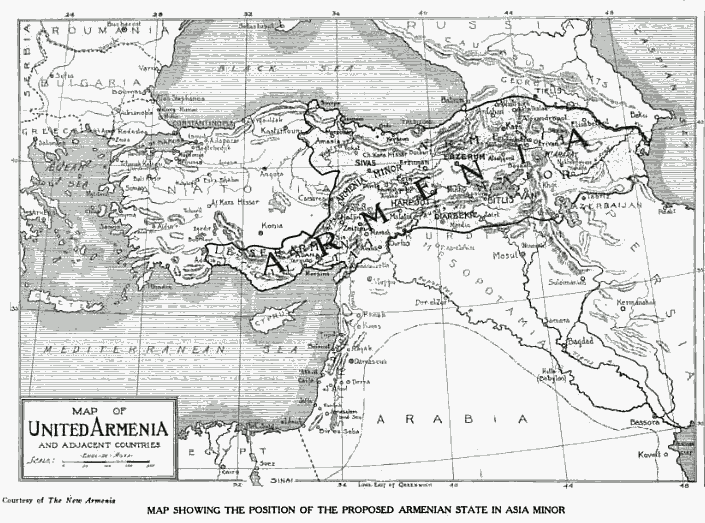 A black and white drawn map of a newly proposed place for Armenia
