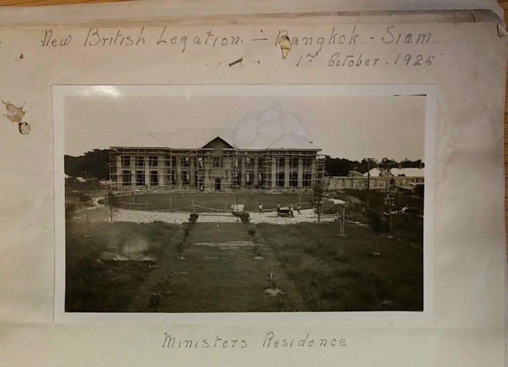 Photograph shows The British Embassy Bangkok in Ploenjit district during construction, 1925 (The National Archives, WORK 10/275)