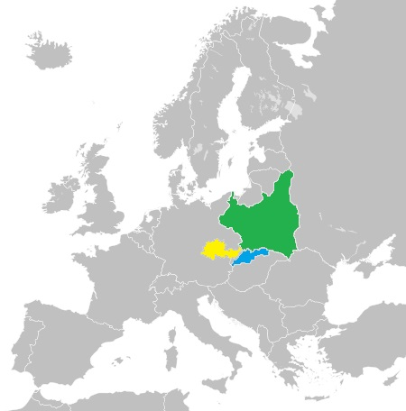 Countries of Europe in 1939 with old countries highlight in the middle area, highlighted are Poland, Moravia and Bohemia and Slovakia