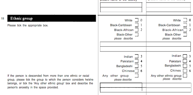 "The image shows the ethnic group question from the 1991 Census. The instructions say ""Please tick the appropriate box"", and give the following options: White, Black-Caribbean, Black-African, Black-Other (please describe), Indian, Pakistani, Bangladeshi, Chinese, and Any other group (please describe). Further instructions say: ""If the person is descended from more than one ethnic or racial group, please tick the group to which the person considers he/she belongs, or tick the 'Any other ethnic group' box and describe the person's ancestry in the space provided."""