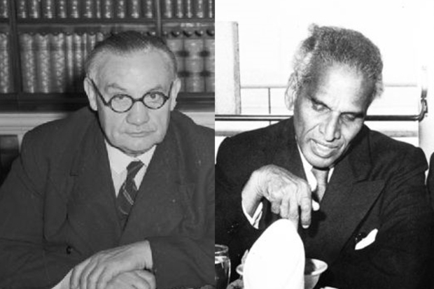 On the right is Indian Foreign Minister V K Menon looking downing and on the left is the then British Foreign Secretary Ernest Bevin