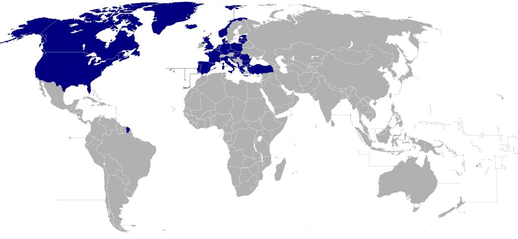 Map of the world with NATO member countries highlighted, which are the 29 countries of NATO