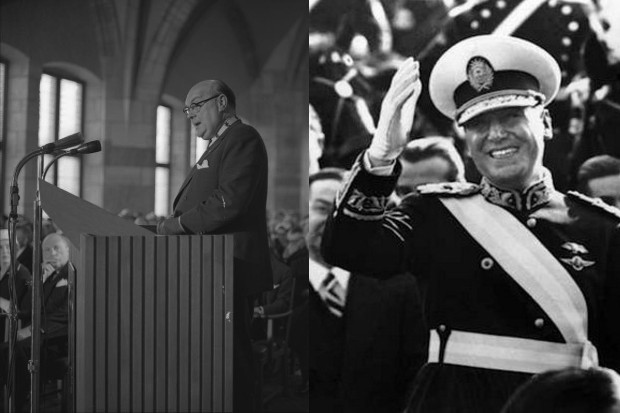 Split picture: left is President Juan Peron at a podium in the middle of a speak and right is Prime Minister Paul-Henri Spaak waving to the camera.