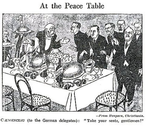 "Cartoon: At the Peace Table. Treaty of Versailles. Clemenceau says, ""Take your seats, gentlemen!"" The food and chairs look dangerous, and there are handcuffs on the table, worried and suspicious German delegates."