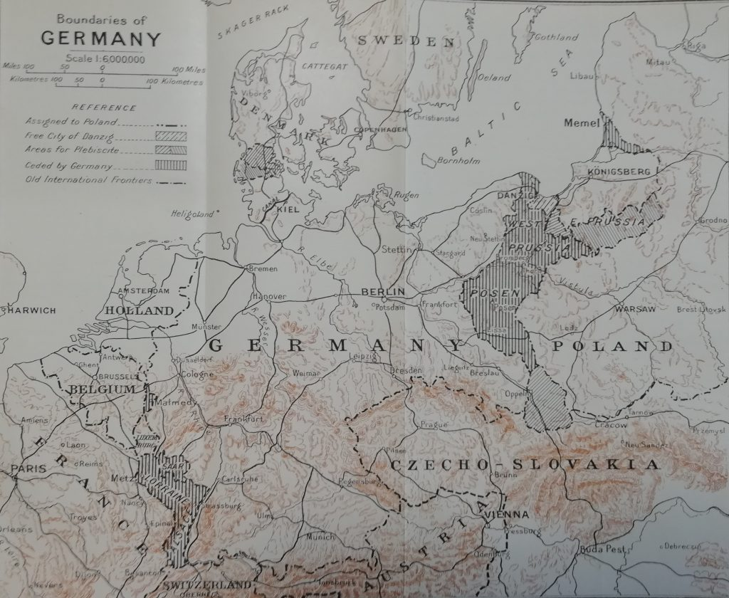 A map of old germany, post-war boundaries of Germany, indicating land ceded and areas for plebiscite