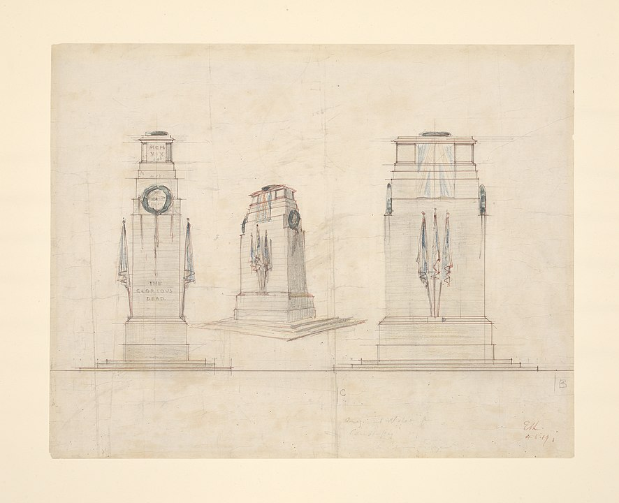 Paper showing sketches of designs for the final Cenotaph