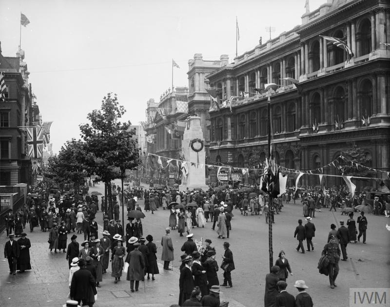 Spectators after the parade at the Cenotaph, Whitehall, 19th July 1919.