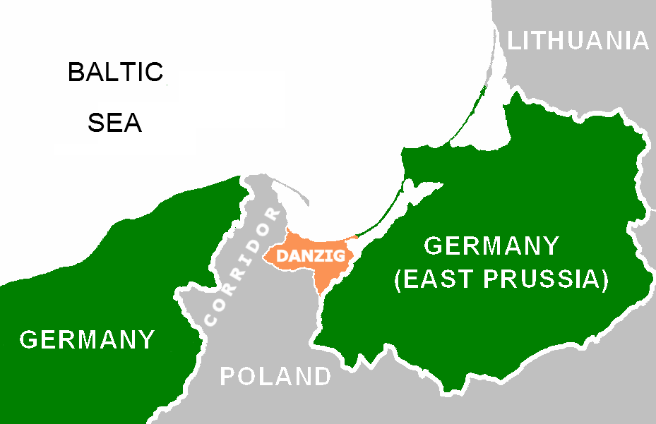 Coloured map of the Danzig corridor in war, spanning (West to East) Germany, the Baltic Sea, Poland, Danzig, East Prussia then Lithuania
