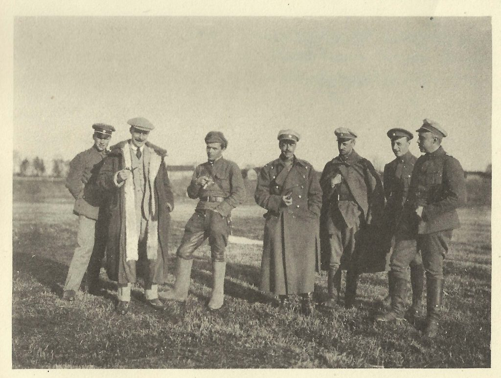 Near the frontline at Zilupe/ Rozenovskaja, Latvia March 1920. From the left to the right: Unknown, Stephen Tallents, a Russian Bolshevik officer, Harold Alexander, officers of the Baltic Landeswehr.