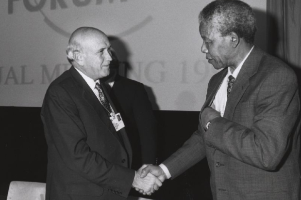 F.W. de Klerk and Nelson Mandela shaking hands