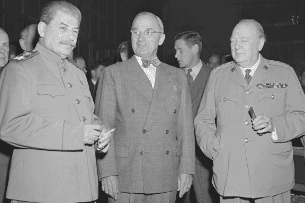 Photograph of Josef Stalin, Harry S. Truman, and Winston Churchill at Potsdam