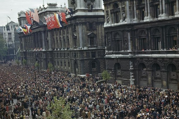 Crowds gathering in Whitehall on 8 May 1945
