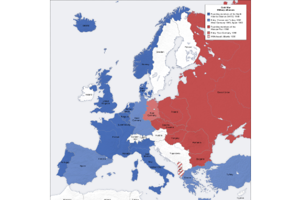 Map of European military alliances in the cold war