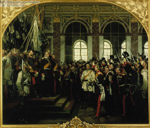 Artwork showing a large group of military men in a room